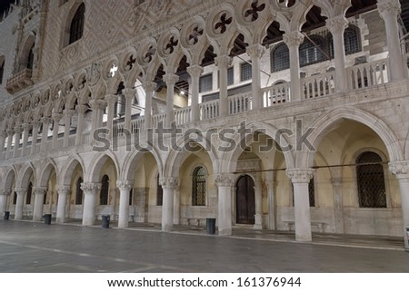Piazza San Marco Venice Long exposure By Night. Blurred motion on curtain due to Grand Canal sea movement.   - stock photo