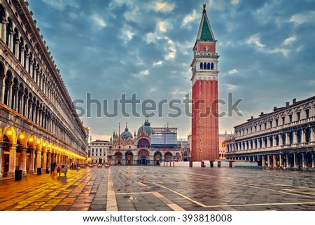 Piazza San Marko at dusk,  Venice - stock photo