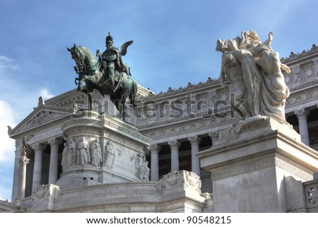 Piazza Venezia in central Rome, Italy. Monument for Victor Emenuel II. - stock photo