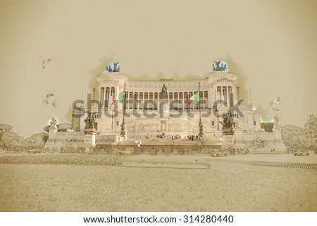 piazza Venezia in Rome with the monumental memorial for king Vittorio Emanuele II. Travel background illustration. Painting with watercolor and pencil. Brushed artwork. - stock photo
