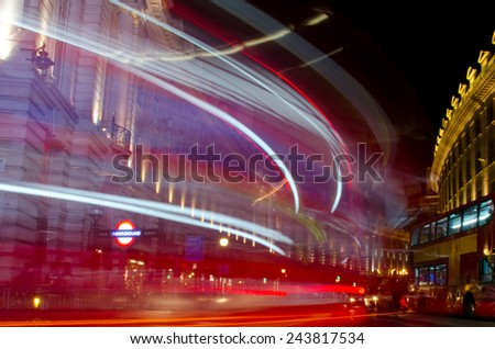 Picadilly circus long exposure by night  - stock photo