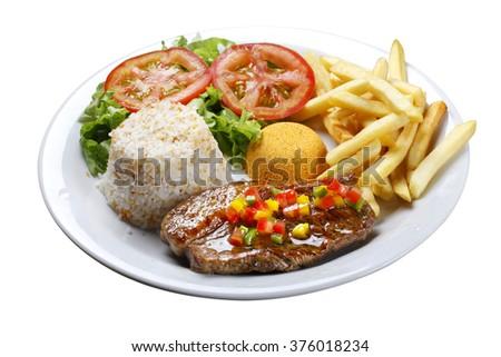 picanha potato with rice  - stock photo