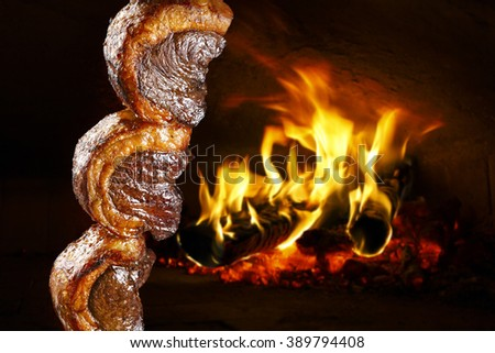 Picanha, traditional Brazilian barbecue.  - stock photo