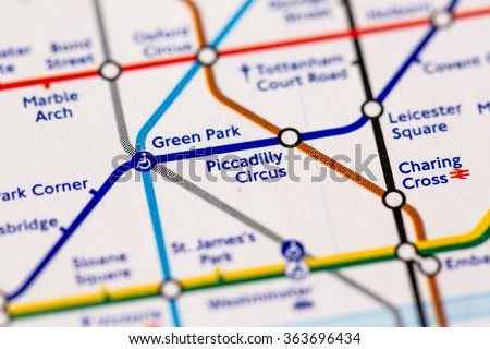 Piccadilly Circus Station on a map of the Piccadilly metro line in London, UK. - stock photo