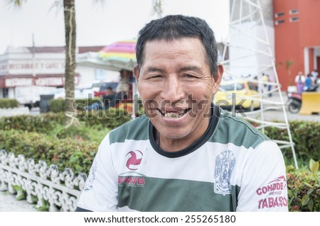 PICHUCALCO, MEXICO - DECEMBER 21, 2014: Tooth decay is a serious and common problem among the indigenous populations in Mexico, as is evident in the smile of this indigenous man - stock photo