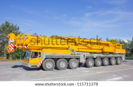 Pick up and crane truck - stock photo