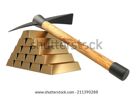 pickaxe lies on gold bullion. isolated on white background. 3d - stock photo