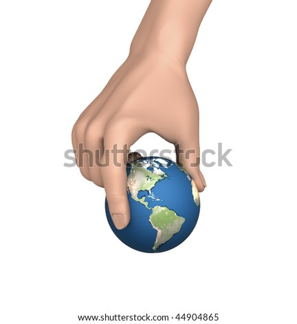 Picking up Earth - stock photo