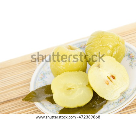 Pickled apples on a plate