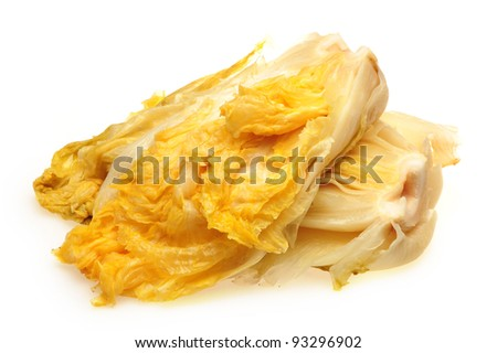 Pickled Chinese cabbage on white background - stock photo