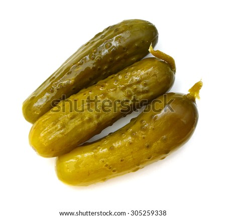 pickled cucumbers. Gherkins on a white background - stock photo