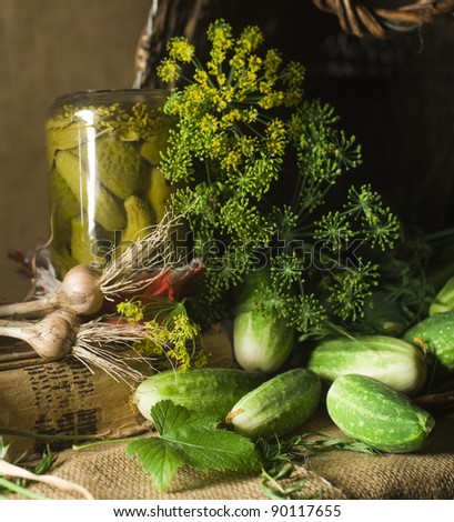 pickled gherkins - stock photo