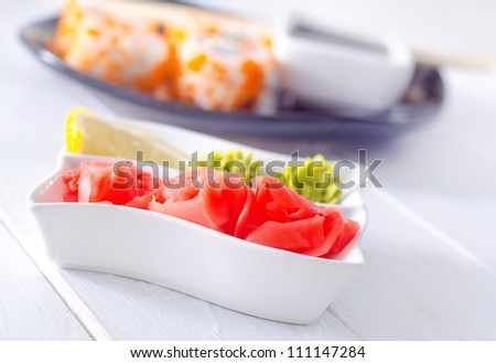 Pickled ginger with soy sauce and wasabi for sushi - stock photo