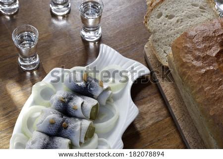 pickled herring - stock photo