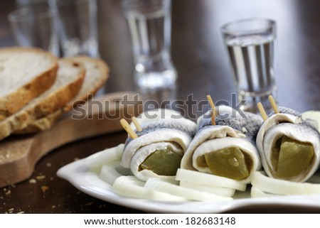 pickled herring  - stock photo