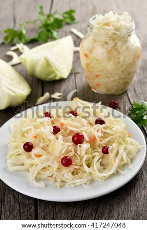Pickled marinated cabbage (sauerkraut), country style - stock photo