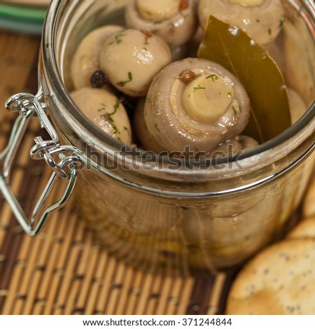 Pickled Mushrooms. Selective focus.