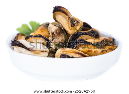 Pickled Mussels isolated on pure white background - stock photo