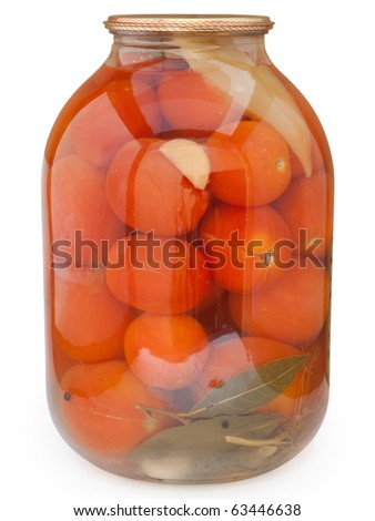 Pickled red tomatoes. Isolated on white background with clipping path. - stock photo