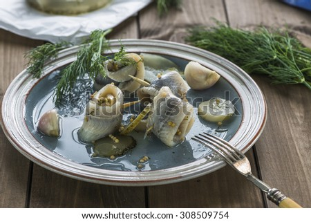 Pickled rollmops herrings with dill - stock photo