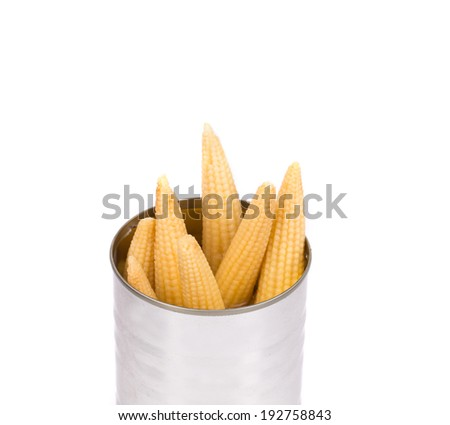Pickled small corn. Isolated on a white background.