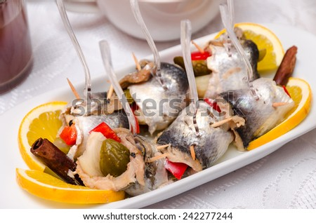 Pickled spicy herring - stock photo