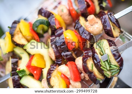 Pickled vegetables. Preparing for home barbecue picnic. - stock photo