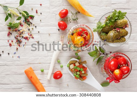 Pickled Vegetables. Vegetable being prepared for preserving, top view  - stock photo