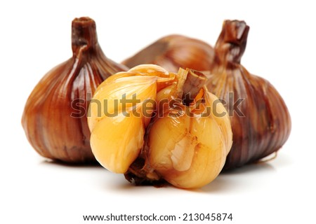 Pickles garlic isolated on white background  - stock photo