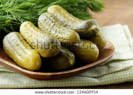 Pickles salted cucumbers pickled vegetables still-life - stock photo