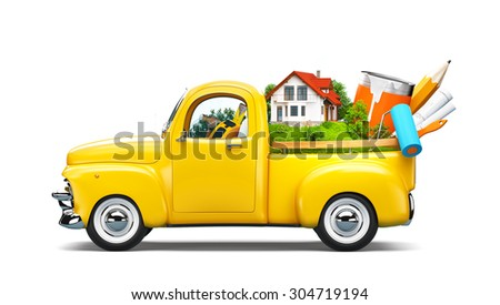 Pickup truck with building and construction equipment in the trunk. Unusual travel illustration - stock photo