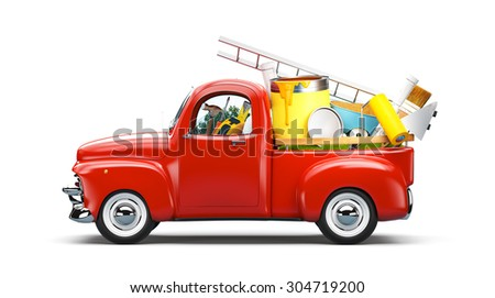 Pickup truck with construction equipment in the trunk. Unusual travel illustration - stock photo