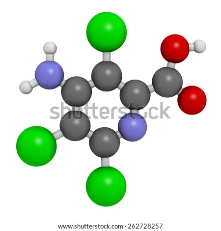 Picloram herbicide molecule. Atoms are represented as spheres with conventional color coding: hydrogen (white), carbon (grey), oxygen (red), nitrogen (blue), chlorine (green).