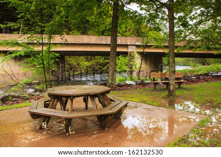 Picnic area after being rained out in Pennsylvania