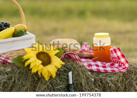 Picnic basket and straw hay laying on the grass. - stock photo