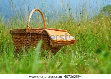 Picnic basket and table cloth on a meadow
