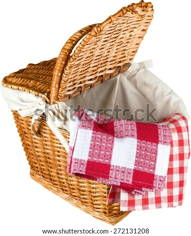 Picnic Basket, Basket, Napkin. - stock photo