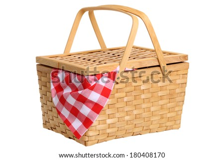 Picnic basket cutout on white background - stock photo