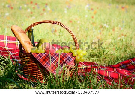 Picnic basket fool of fruits bread and wine with floral meadow at background
