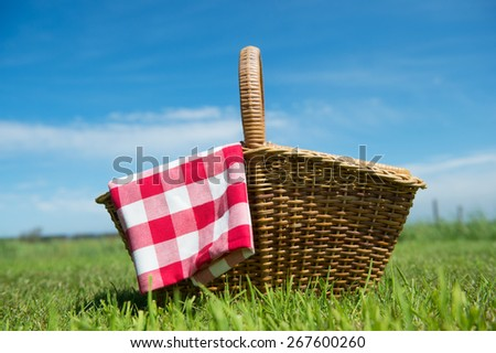 Picnic basket in grass outdoor - stock photo