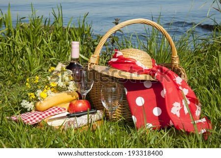 Picnic basket in the grass with tasty food and wine