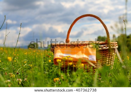 Picnic basket on a meadow, summer day - stock photo