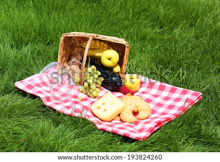 Picnic basket with food on green grass - stock photo