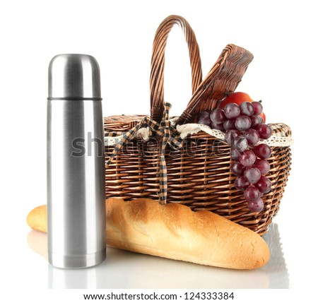 Picnic basket with fruits,bread and thermos isolated on white - stock photo