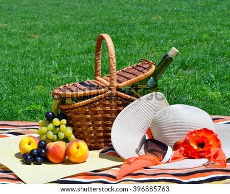 Picnic basket with fruits on green sunny lawn.