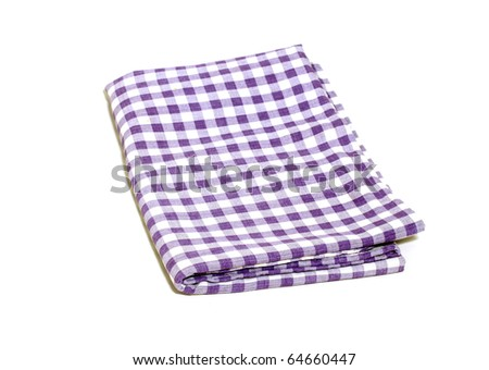 picnic cloth isolated on white - stock photo