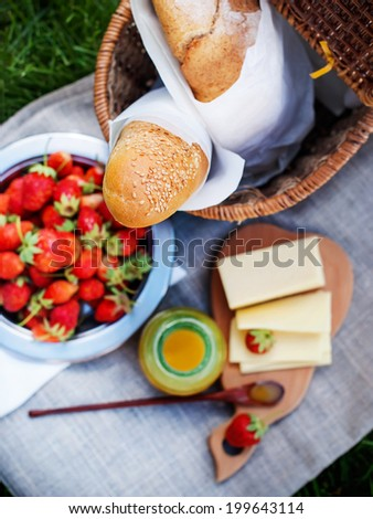 Picnic Food with Fresh Bread, Strawberry, cheese and  honey on a sacking cloth, selective focus - stock photo