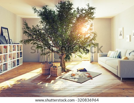 picnic in a home interior. 3D concept illustration - stock photo