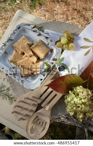 Picnic in Autumn nature, with food