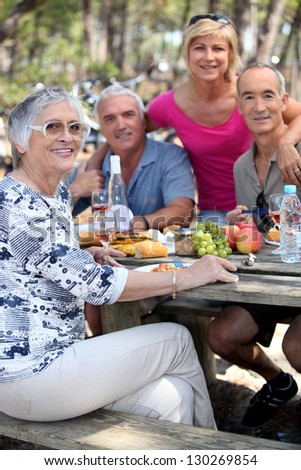 Picnic in the field - stock photo